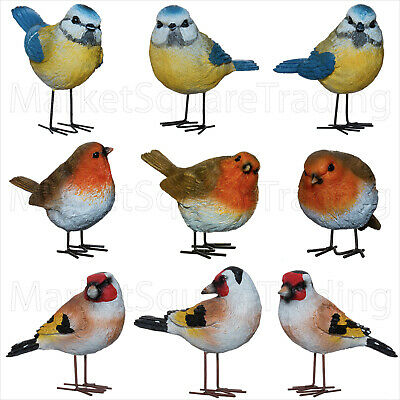 3x BIRD ORNAMENTS FOR GARDEN RED ROBIN BLUE TIT GOLDFINCH FULL RESIN WIRE FEET • 14.99£