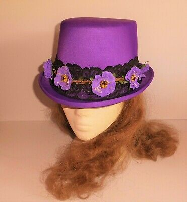 Purple Hat With Flowers And Black Lace. Burlesque / Steampunk /Goth Wedding? • 30£