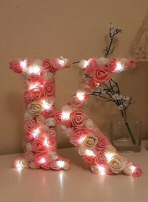 ❤Rose Flower Covered Capital Initial Letter Illuminated Fairy Light Up 20cm MDF❤ • 19.95£