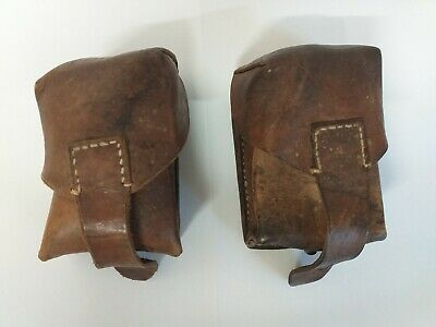 £14.95 • Buy Vintage Brown Leather Military Ammunition Cartridge Pouches