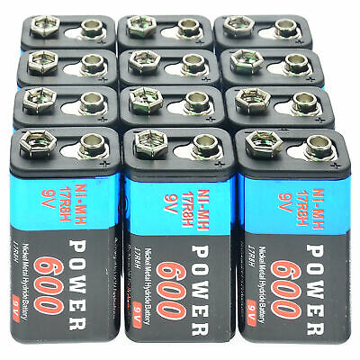 AU34.19 • Buy 12x Durable 9V 9 Volt 600mAh Power Black Ni-Mh Rechargeable Battery PPS Block