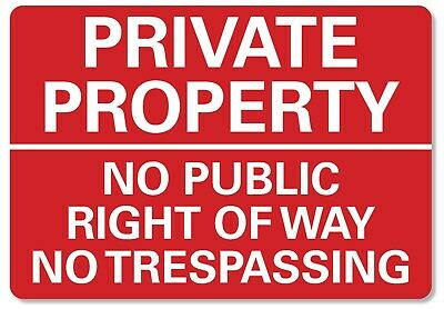 £6.99 • Buy METAL SIGN Private Property No Trespassing Metal Waterproof Red White