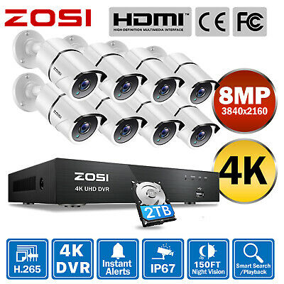 AU609.99 • Buy ZOSI 4K 8MP H.265+ CCTV Security Camera System 8CH Ultra HD DVR Home Outdoor 2TB