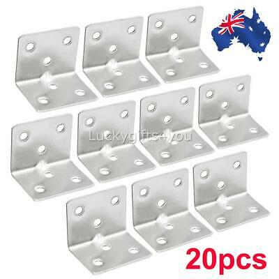 AU19.99 • Buy 20pack Corner Brace Joint Right Angle L Bracket Stainless Steel Shelf Support