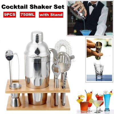 9PC/Set  Cocktail Shaker Stainless Steel Mixer Bartender Accessories With Stand • 15.88£