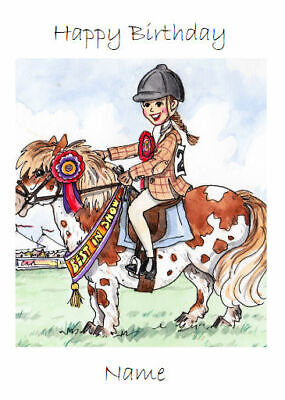 £3 • Buy Female Horse Riding Gymkhana Brown Pony Card Personalise For Any Occasion