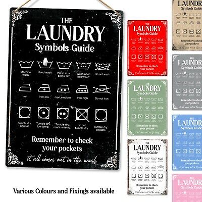 Metal Wall Sign - Laundry Symbols Guide Machine Wash Iron Tumble Gift Plaque • 7.89£