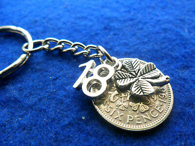 £4.99 • Buy 18th Birthday Gift For A Man Lucky Sixpence Keychain With Clover And  18  Charms