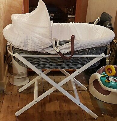 £20 • Buy Grey Wicker Moses Basket Crib, White Wood Stand With Hood Barely Used Immaculate