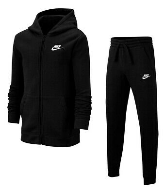 Boys Nike Full Tracksuit Top Jacket Bottoms Kids Black Track Pants Fleece 8-9 S • 44.89£