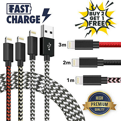 USB Cable For IPhone 7 8 6 5 X 11/11 Pro Long Charger Charging Fast Lead 2m 3m • 3.45£
