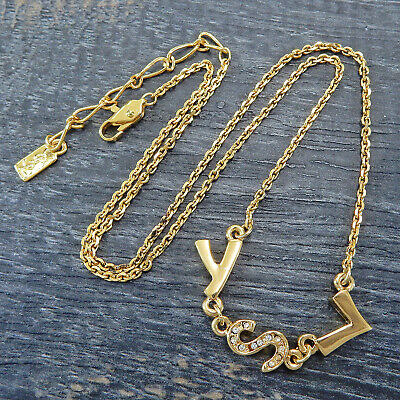 AU12.40 • Buy Yves Saint Laurent YSL Gold Plated Rhinestone Necklace Pendant #6464a Rise-on
