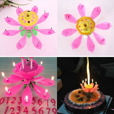 $ CDN7.54 • Buy ROTATING Lotus Candle Birthday Flower Musical Floral Cake Candles /w Music Magic