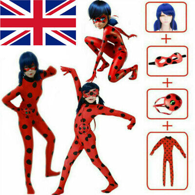 Kids Girls Miraculous Ladybug Jumpsuit Outfits Cosplay Tight Costume Fancy Dress • 14.99£