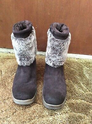 Pavers Suede Boots With Faux Fur Brown Size 5 Bnwot • 20£