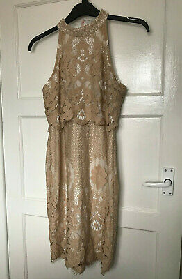 Misguided Beige Brown White Lace High Neck Sleeveless Frayed Hem Dress Size 14 • 4.99£