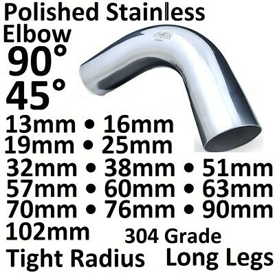 £14.95 • Buy 45 & 90 Degree 304 Stainless Steel D Polished Mandrel Exhaust Pipe Bend Elbow