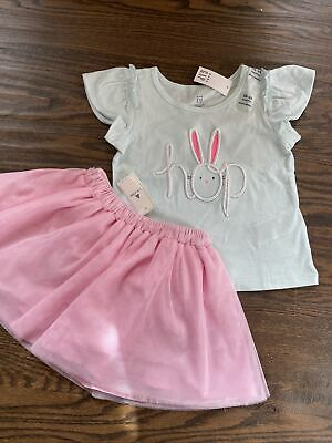 £20.36 • Buy NWT Baby Gap Girl SPRING EASTER Bunny HOP 2-piece Pink Tulle Skirt SET 18 24