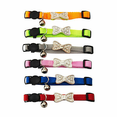 £2.99 • Buy CAT COLLAR Diamante Safety Bow Tie Dog Chihuahua Bell Adjustable Diamond Bling