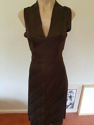 AU99 • Buy Scanlan Theodore Dress 10 Brown Stretch Very Flattering Designer Fit Flare
