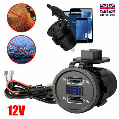 £7.67 • Buy Dual USB Car Motorcycle Charger Socket Adapter Plug Power Outlet 12V Waterproof