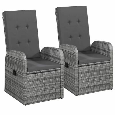 AU325.95 • Buy 2 Pcs Reclining Patio Chair With Cushion Poly Rattan Armchair Outdoor Furniture