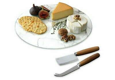 £15.99 • Buy Rotating Marble Glass Lazy Susan Board With 2 Speciality Wooden Cheese Knives