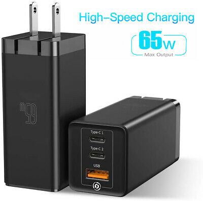 $ CDN33.73 • Buy 65W GaN Fast Portable 3 Port Charger USB-C QC PD 3.0 Power Delivery Wall Charger