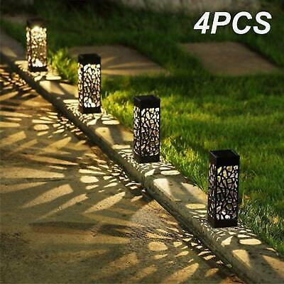 Solar 4 Pcs Powered Garden Post Lights Waterproof LED Outdoor Patio Yard Lawn UK • 10.88£