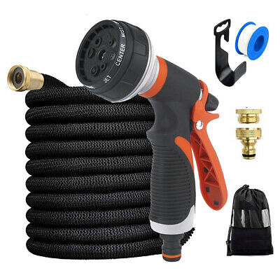 Garden Hose Spray Gun Expandable Flexible Pipe Plant Watering Tool 100FT 150FT • 8.99£