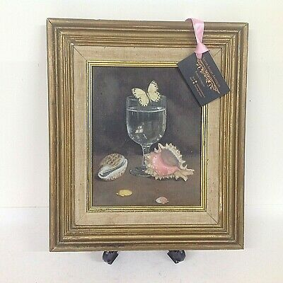 20th CENTURY OIL ON CANVAS STILL LIFE WITH BUTTERFLY & SEA SHELLS ROSIE CAMDEN • 115£