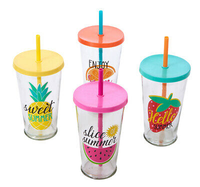 Glass Cup With Lid And Straw Drink Cup Drinking Cup Summer Gift Cocktails Kids • 4.50£
