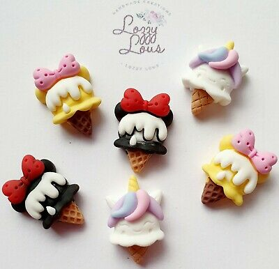 6pcs Cute Ice Cream Resin Kawaii Flatback Cabochon Embellishments Decoden Craft • 1.99£