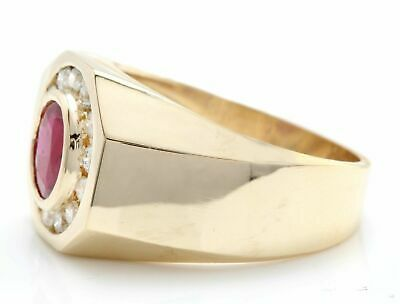 AU1877.02 • Buy Natural Red Ruby And Diamonds 14K Solid Yellow Gold Men's Ring