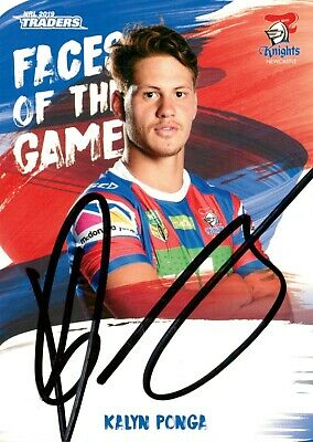 AU49.99 • Buy ✺Signed✺ 2019 NEWCASTLE KNIGHTS NRL Card KALYN PONGA Faces Of The Game
