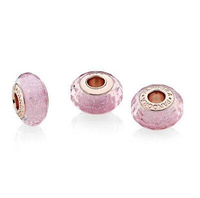 AU59 • Buy Genuine Pandora Charm Rose Gold Faceted Pink Murano Glass 781650