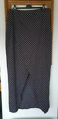 Boohoo Black White Wrap Polka Dot Spot Long Skirt Size 18 • 12£