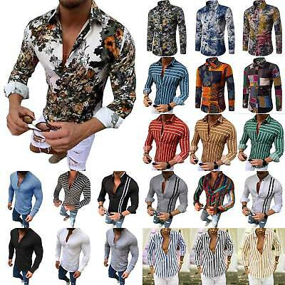 Mens Summer Casual Long Sleeve Blouse Tunic Fashion Floral Slim Fit V-Neck Shirt • 12.44£