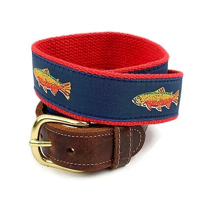 """PRESTON Mens Brown Leather Blue Canvas Rainbow Trout Belt Made In USA Sz 34"""" • 14.62£"""