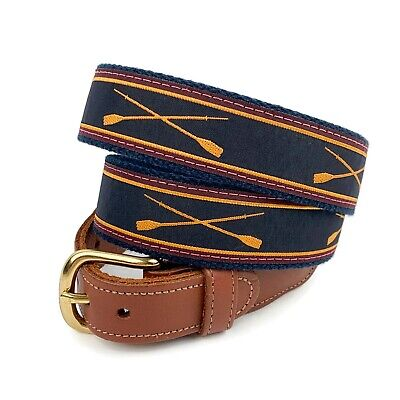 """PRESTON Mens Brown Leather Blue Canvas Rowing Oars Belt Made In USA Sz 40"""" • 14.62£"""