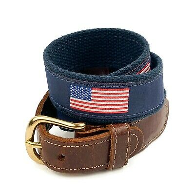 """PRESTON Mens Brown Leather Blue Canvas American Flag Belt Made In USA Sz 28"""" • 14.62£"""