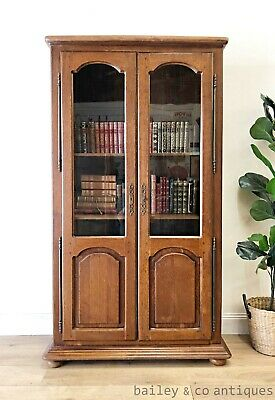 AU585 • Buy Vintage French Bookcase Oak Veneer Display Cabinet - TT075