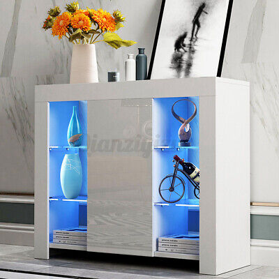 £72.99 • Buy High Gloss Sideboard Cupboard With LED Light +Door Display Cabinet TV Unit Stand