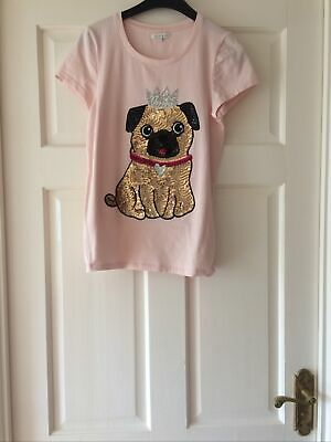 Blue Zoo Girls Pink Age 12-13 Sequin Sparkly Pug T-shirt In Good Condition • 7£