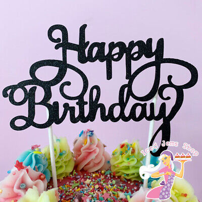£1.99 • Buy Happy Birthday Cake Toppers Glitter Calligraphy Bling Sparkle Decoration