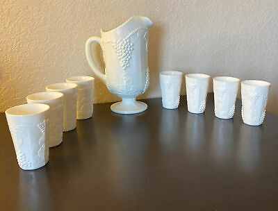 $44.95 • Buy MILK GLASS PITCHER & 8 TUMBLERS * Vintage * Great Condition