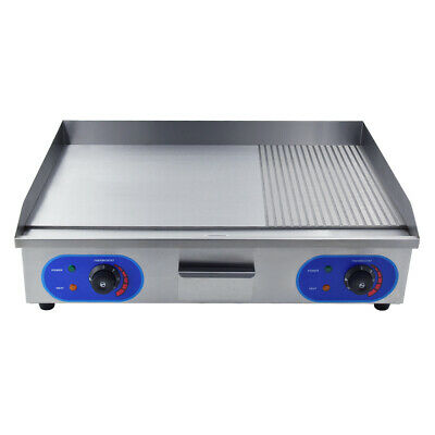 £185 • Buy 4400W Commercial Electric Griddle Flat & Groove Grill BBQ 73cm Large Hotplate UK