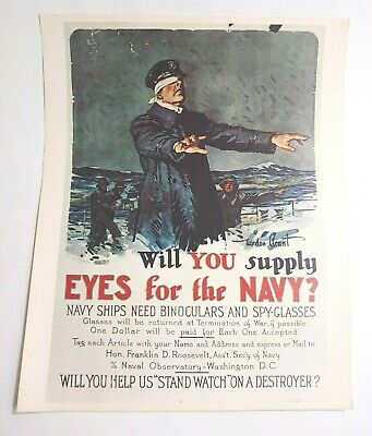 £18.07 • Buy Vintage Navy Recruitment Poster Print - 20  X 16  Will You Supply Eyes