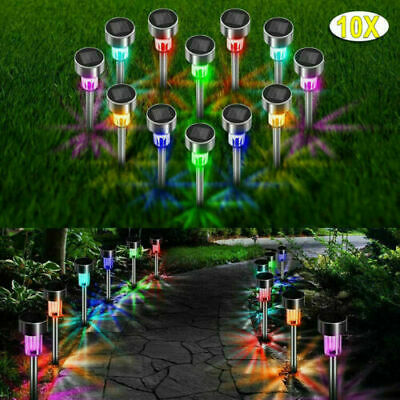 Pack Of 10 Stainless Steel Solar Powered Colour Changing Led Garden Patio Lights • 10.68£