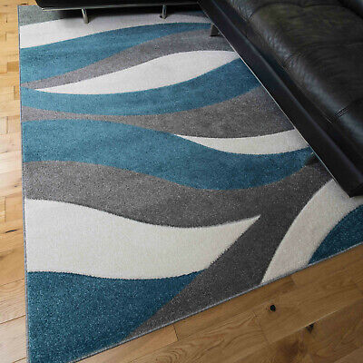 Blue Wave Pattern Rugs Giant Sizes Hand Carved Textured Rug Grey Modern Runners • 99.95£